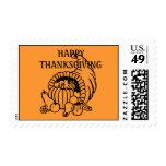 Happy Thanksgiving Postage Stamp Orange