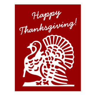 Happy Thanksgiving postcards with turkey drawing