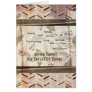 Happy Thanksgiving Pretty Emily Bronte Quote Card