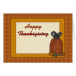 Happy Thanksgiving Pumpkin and Crow Card