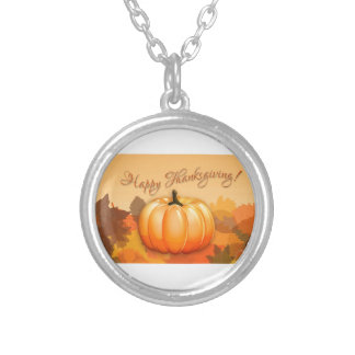 Happy Thanksgiving Pumpkin Silver Plated Necklace