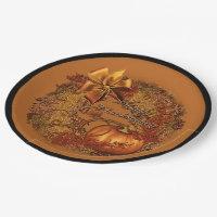 Happy Thanksgiving Pumpkin Wreath Paper Plates