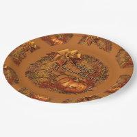 Happy Thanksgiving Pumpkin Wreath Paper Plates 2