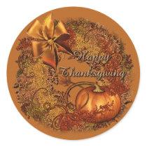 Happy Thanksgiving Pumpkin Wreath Stickers