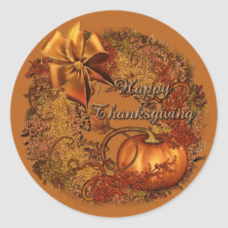 Happy Thanksgiving Pumpkin Wreath Stickers