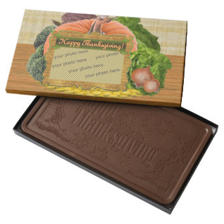 Happy Thanksgiving Pumpkin Your Photo or Logo Milk Chocolate Bar