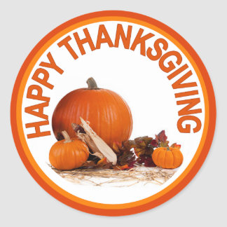 Happy Thanksgiving Pumpkins Classic Round Sticker