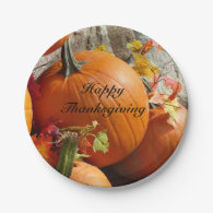 Happy Thanksgiving Pumpkins Paper Plate 7 Inch Paper Plate