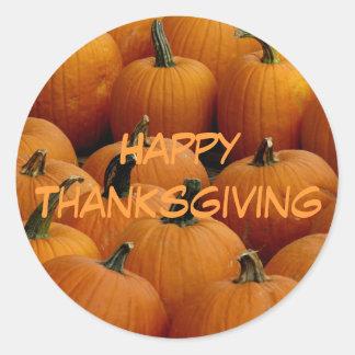 happy Thanksgiving pumpkins Round Sticker