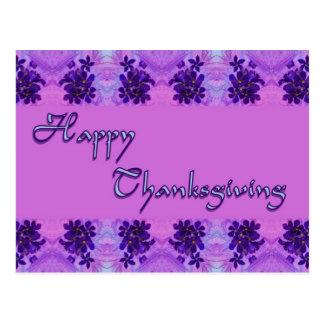 happy thanksgiving purple flowers postcard