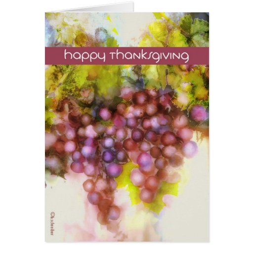 happy thanksgiving, purple grapes, watercolor greeting card