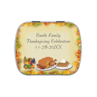 Happy Thanksgiving Rectangle-Shaped Candy Tin