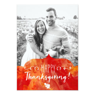 Happy Thanksgiving Red and Orange Watercolor Card