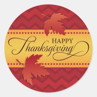 Happy Thanksgiving red chevron pattern autumn leaf Classic Round Sticker