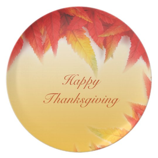 Happy thanksgiving red leaves plate