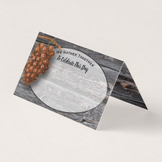 Happy Thanksgiving Red WIne Grapes Wood Rustic Place Card