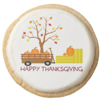 Happy Thanksgiving Round Shortbread Cookie