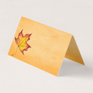 Happy Thanksgiving Rustic Fall Leaf Table Seating Place Card