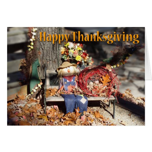Happy Thanksgiving Scarecrow Greetings Card
