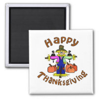 Happy Thanksgiving Scarecrow Magnet