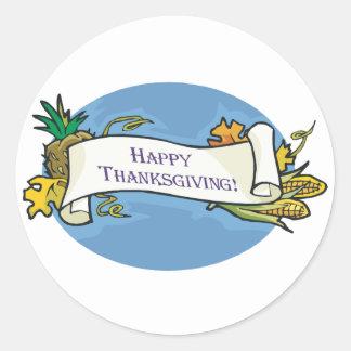 Happy Thanksgiving Scroll Classic Round Sticker