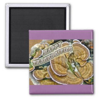 Happy Thanksgiving Shelf Fungus Series 2 Inch Square Magnet