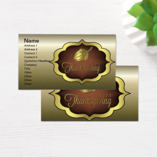 Happy Thanksgiving Shield with Acorn Business Card