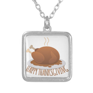 Happy Thanksgiving Silver Plated Necklace