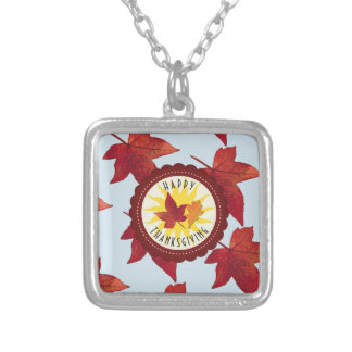 Happy Thanksgiving Sky and Fall Leaves Silver Plated Necklace