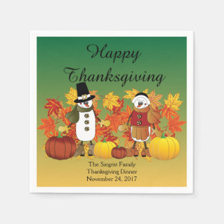 Happy Thanksgiving Snowman Pilgrims Paper Napkin