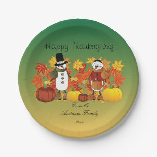 Happy Thanksgiving Snowman Pilgrims Paper Plate