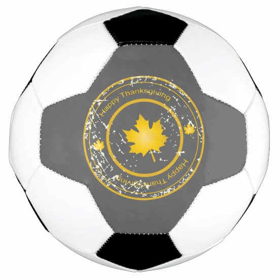 Happy Thanksgiving Stamp, Maple Leaf Soccer Ball