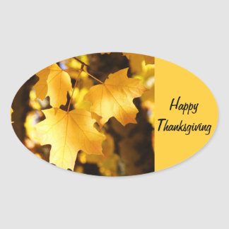 Happy Thanksgiving stickers Golden Autumn Leaves