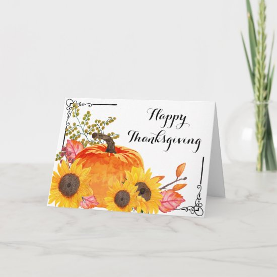 Happy Thanksgiving - Sunflower and Pumpkin Card