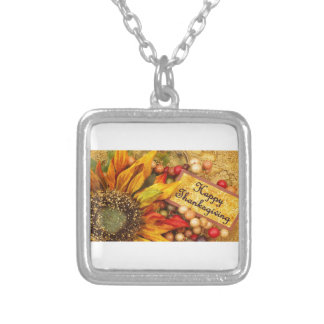 Happy Thanksgiving Sunflower Silver Plated Necklace