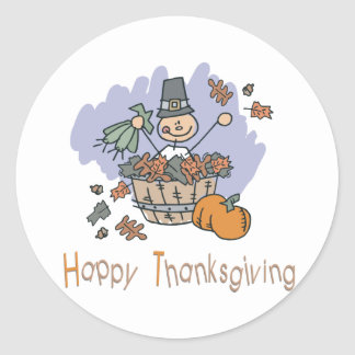 Happy Thanksgiving Surprise Doodle Classic Round Sticker