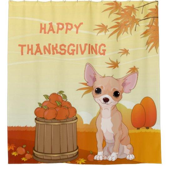 Happy Thanksgiving Tan Chihuahua Shower Curtain
