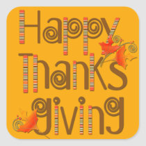 Happy Thanksgiving Text, Autumn Leaves Square Sticker