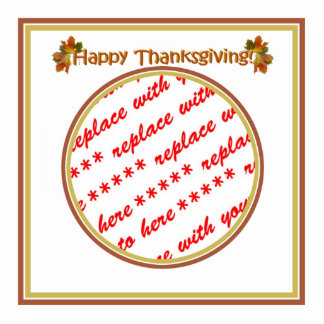 Happy Thanksgiving Text Design  Photo Frame Cut Out