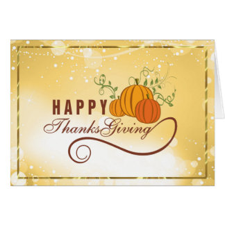 Happy Thanksgiving Text Design With Pumpkins Greeting Card