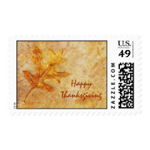 Happy Thanksgiving Textured Leaf Postage