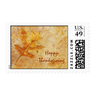 Happy Thanksgiving Textured Leaf Postage at Zazzle