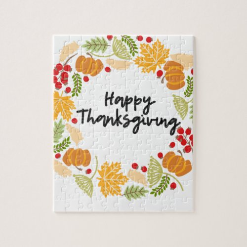 HAPPY THANKSGIVING, Thanksgiving Wreath, Cute Jigsaw Puzzle - 110 Pieces