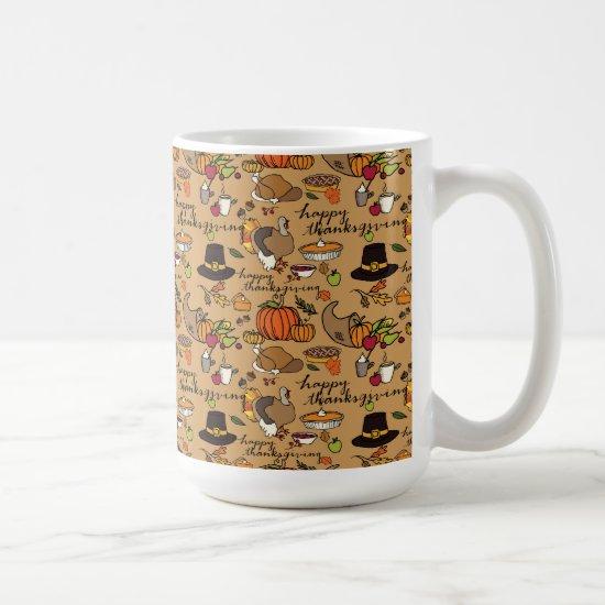 Happy Thanksgiving Themed Mug w/Tan Background