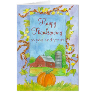 Happy Thanksgiving To You and Yours Red Barn Card