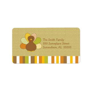 Happy Thanksgiving Turkey Address Label