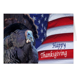 Happy Thanksgiving turkey and flag greeting card