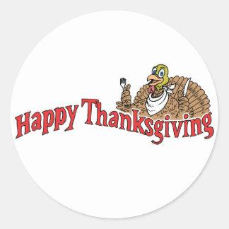 Happy Thanksgiving Turkey Banner Classic Round Sticker