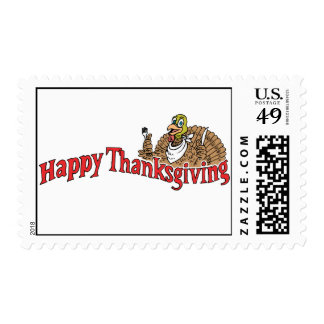 Happy Thanksgiving Turkey Banner Postage Stamps