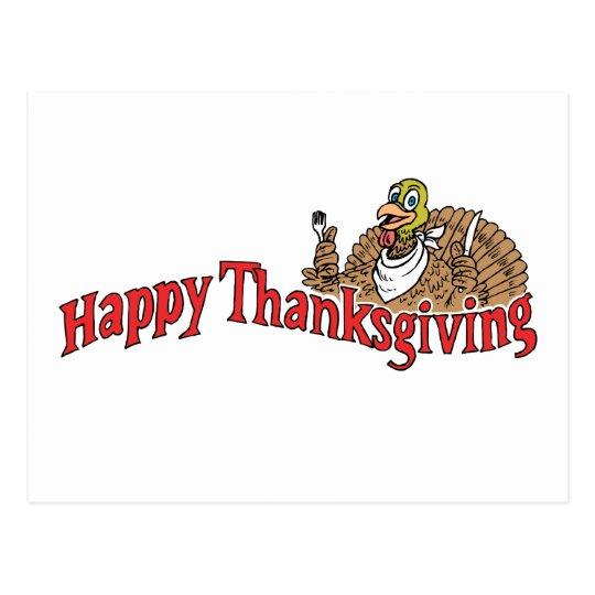 Happy Thanksgiving Turkey Banner Postcard